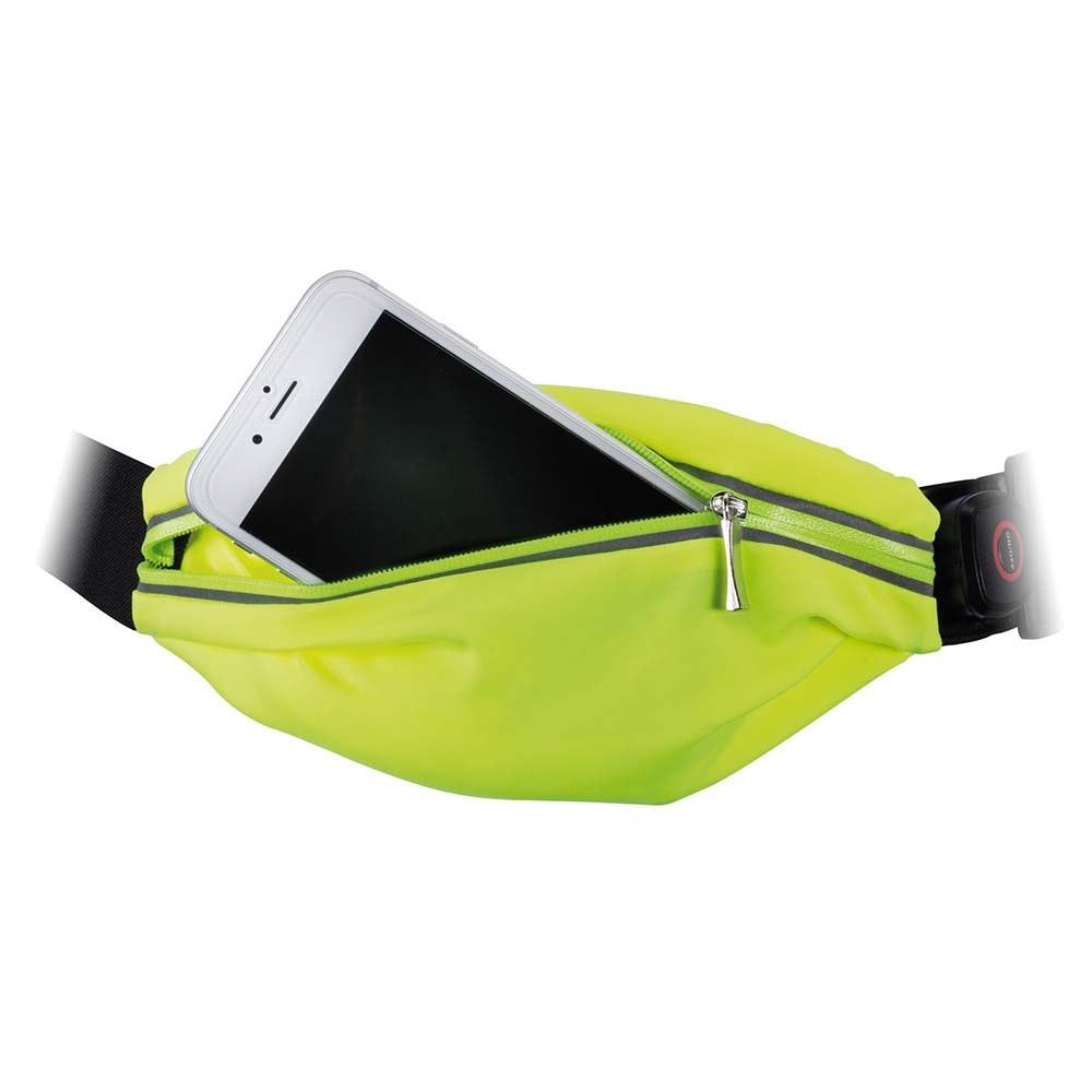 LED Laufgurt mit Smartphone-Fach inkl. USB und Akku Gelb 3