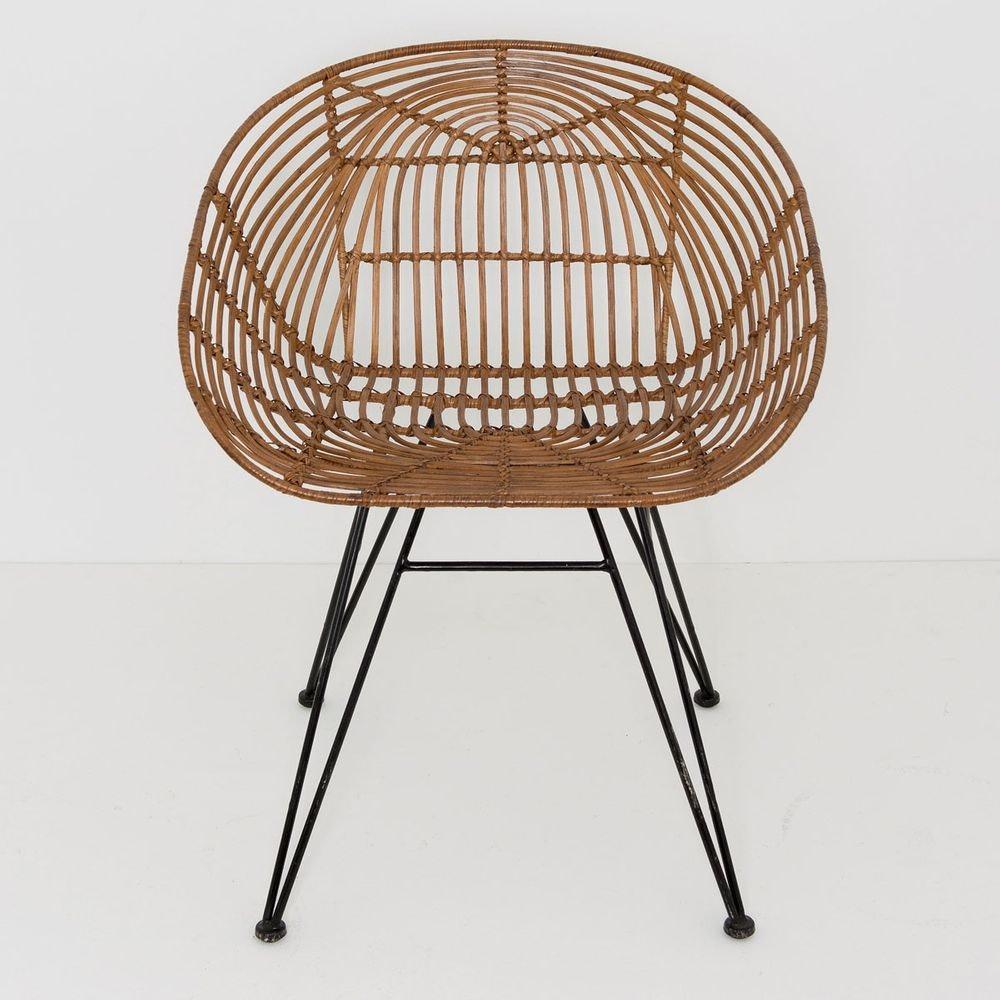Stuhl mit Lehne Seguito Rattan-Metall Honigbraun-Schwarz 2