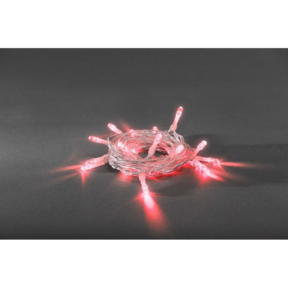 LED Lichterkette Timer 50 rote Dioden batteriebetrieben