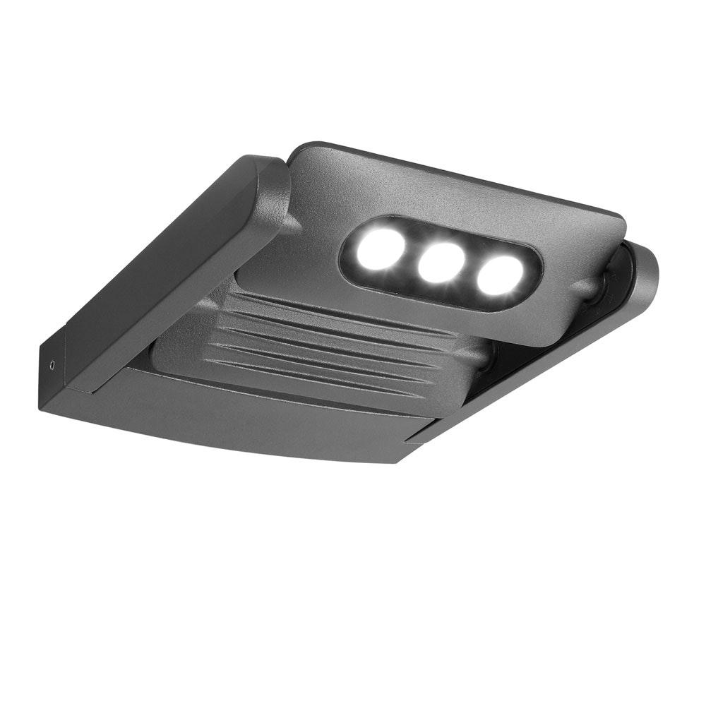 Mini LED Spot 2-flg. verstellbare Außenwandleuchte IP65 Anthrazit 4