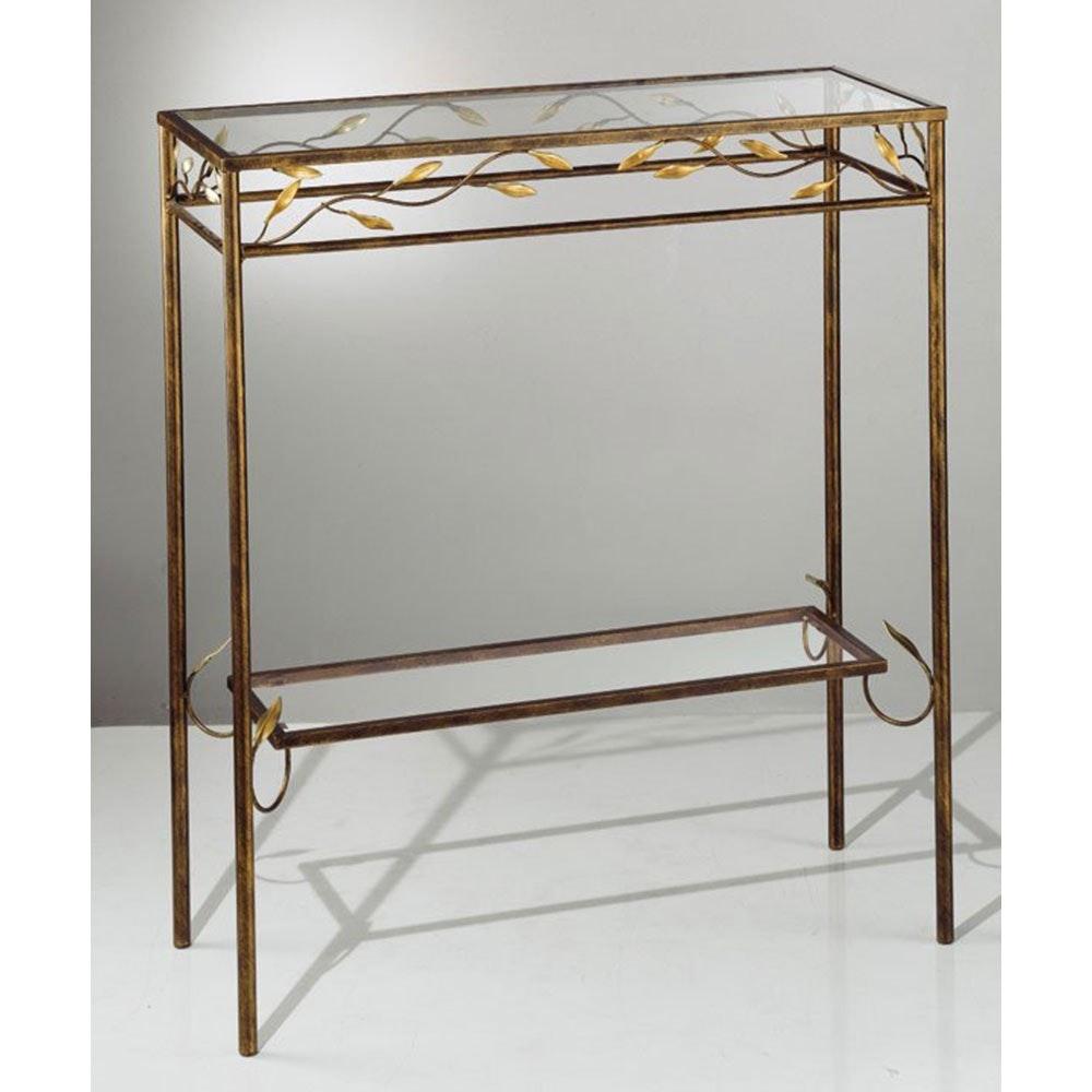 Tisch rechteckig rost-antik Gold patiniert 80cm