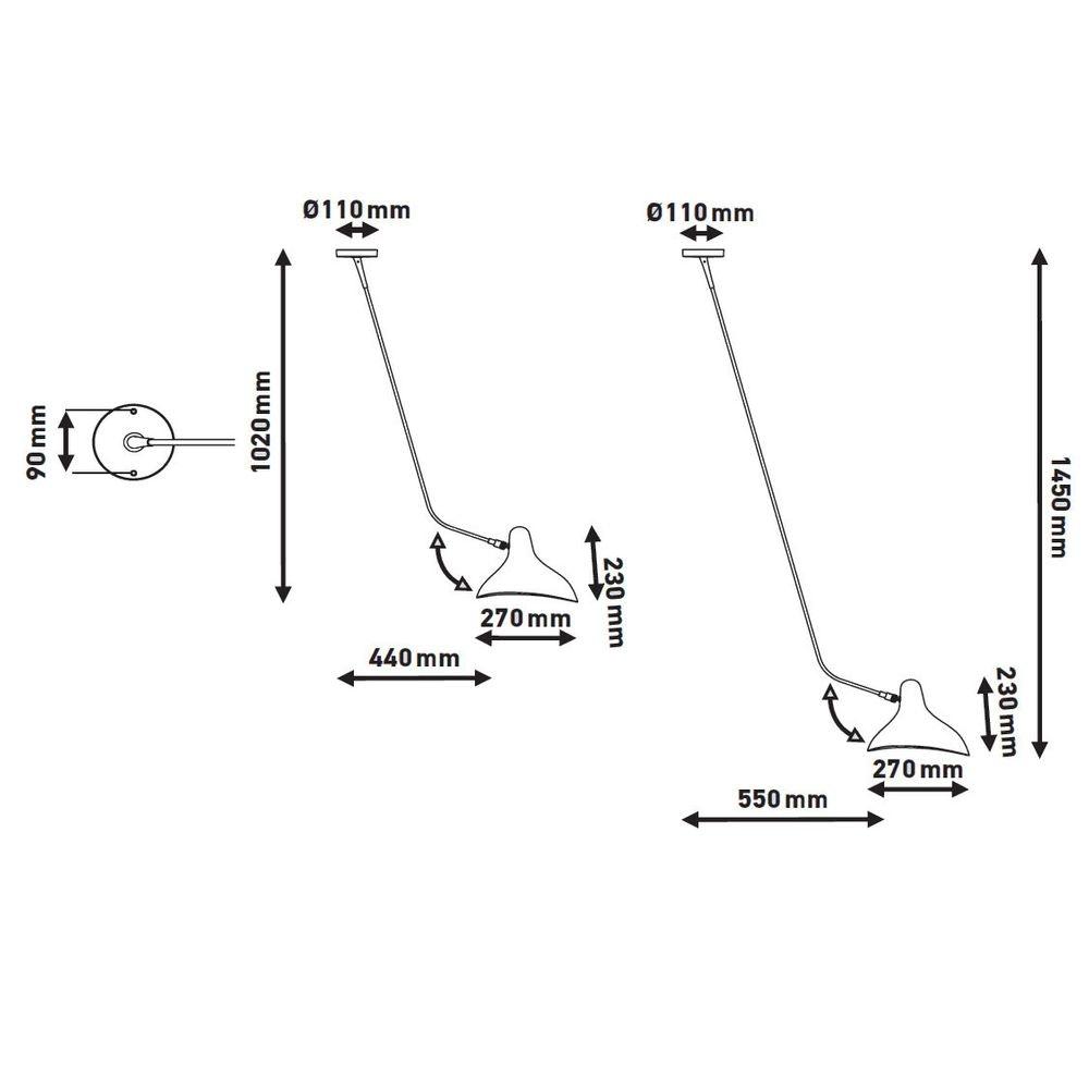 DCW Mantis BS4 Deckenlampe mit Ausleger 7