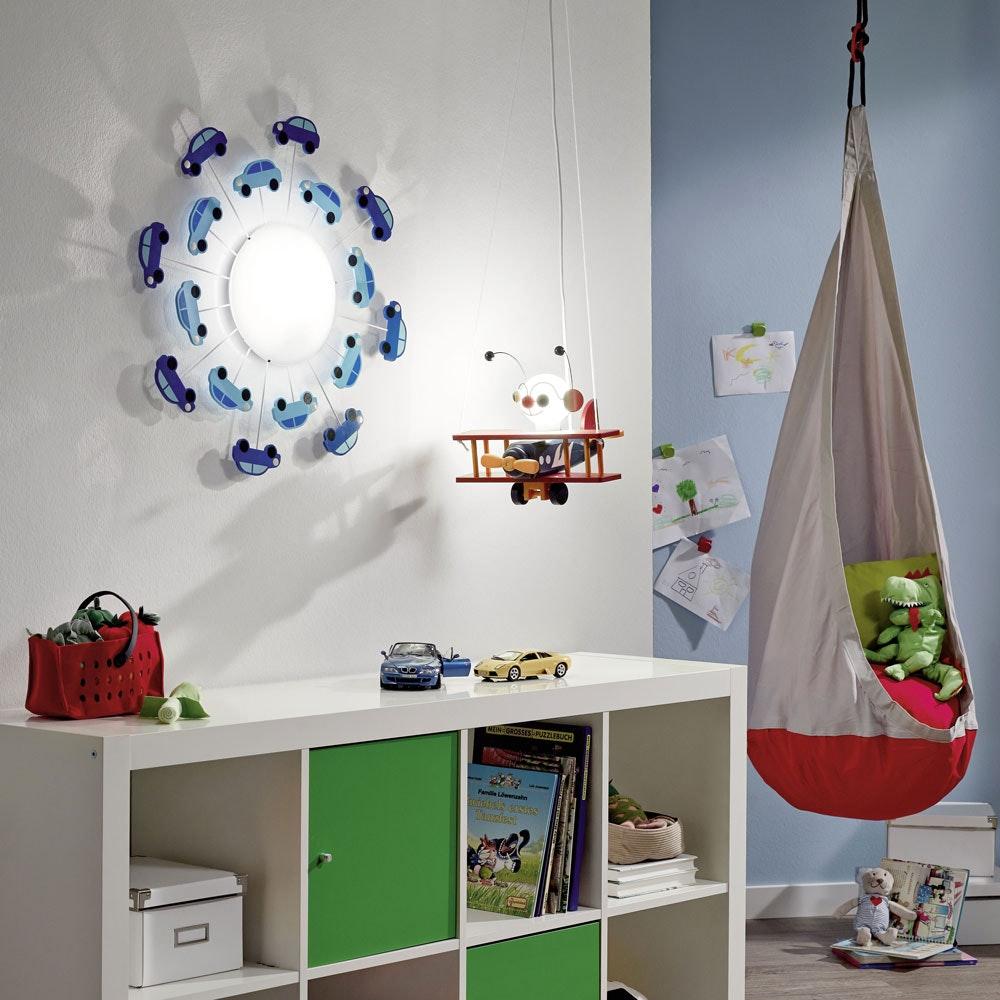 Viki 1 Kinder Wand- & Deckenleuchte Ø 63cm Weiß, Blau