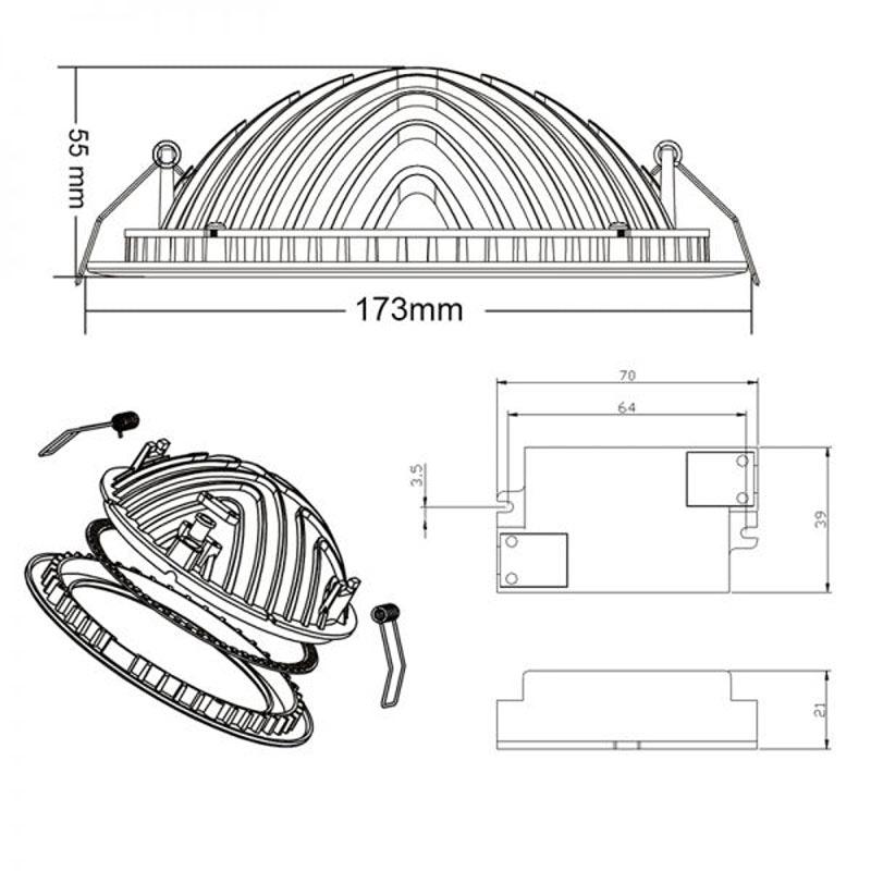 Indirektes Einbau LED-Panel 1030lm dimmbar Ø 17,3cm Warm Weiß 5