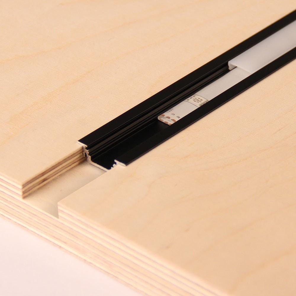 Einbauprofil flach 200cm Schwarz ohne Abdeckung für LED-Strips 2