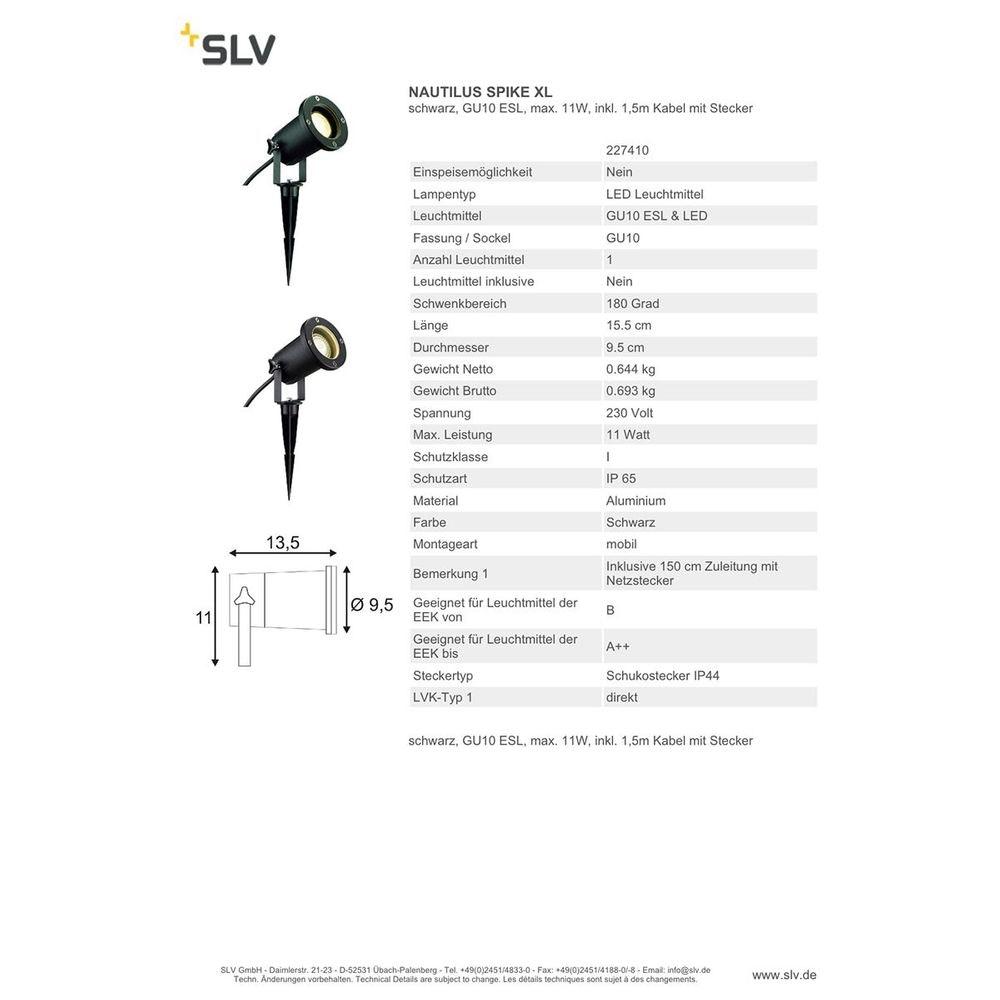 SLV Nautilus Spike XL Strahler inkl. 1,5m Kabel mit Stecker Schwarz 4