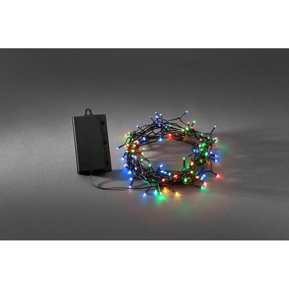 LED Lichterkette Timer 8 Funktionen und Memoryfunktion 128 bunte Dioden batteriebetrieb IP44 2