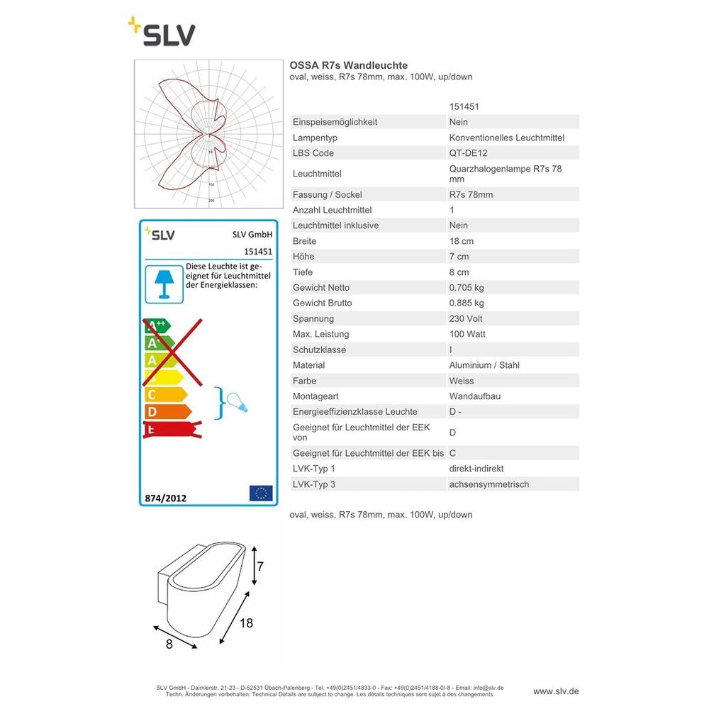 SLV OSSA R7s Wandleuchte Oval weiss R7s 78mm max. 100W Up/Down 2