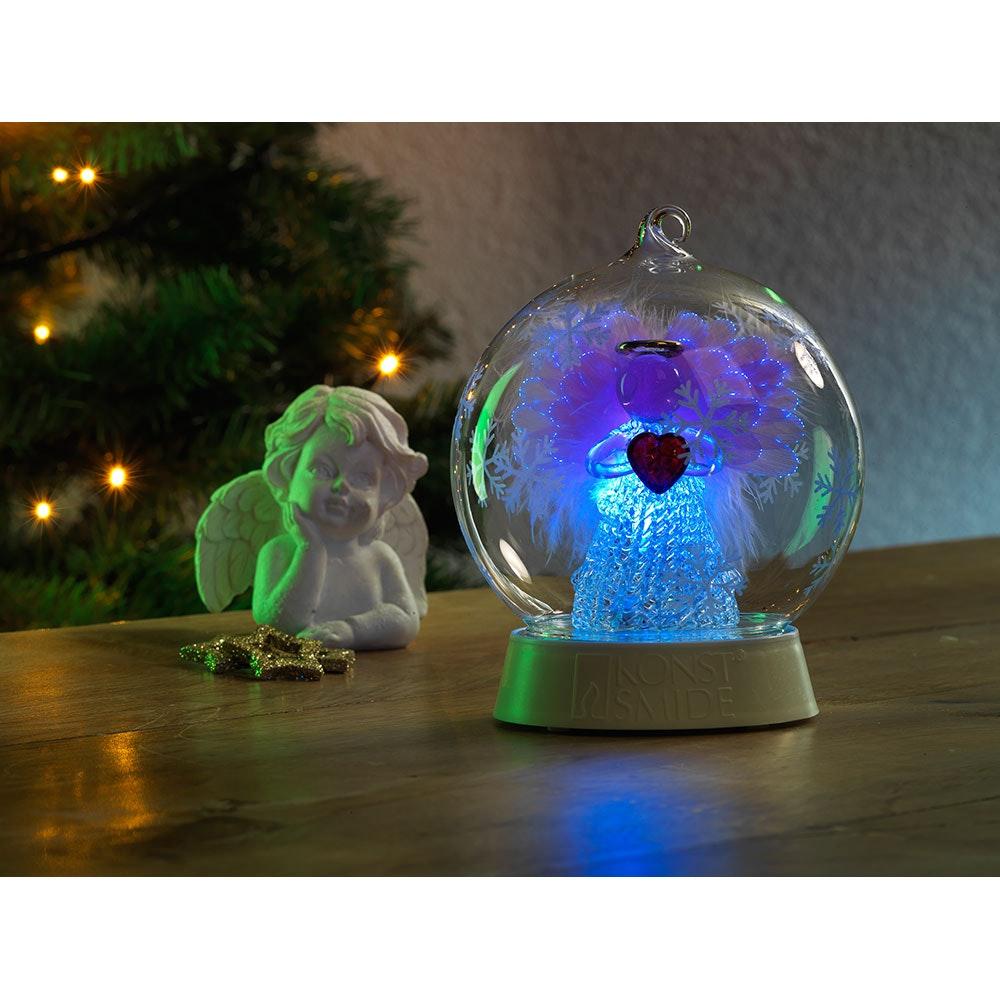 Glaskugel Engel mit 3 Funktionen Timer RGB-Farbwechsel 1 RGB Diode batteriebetrieben 3
