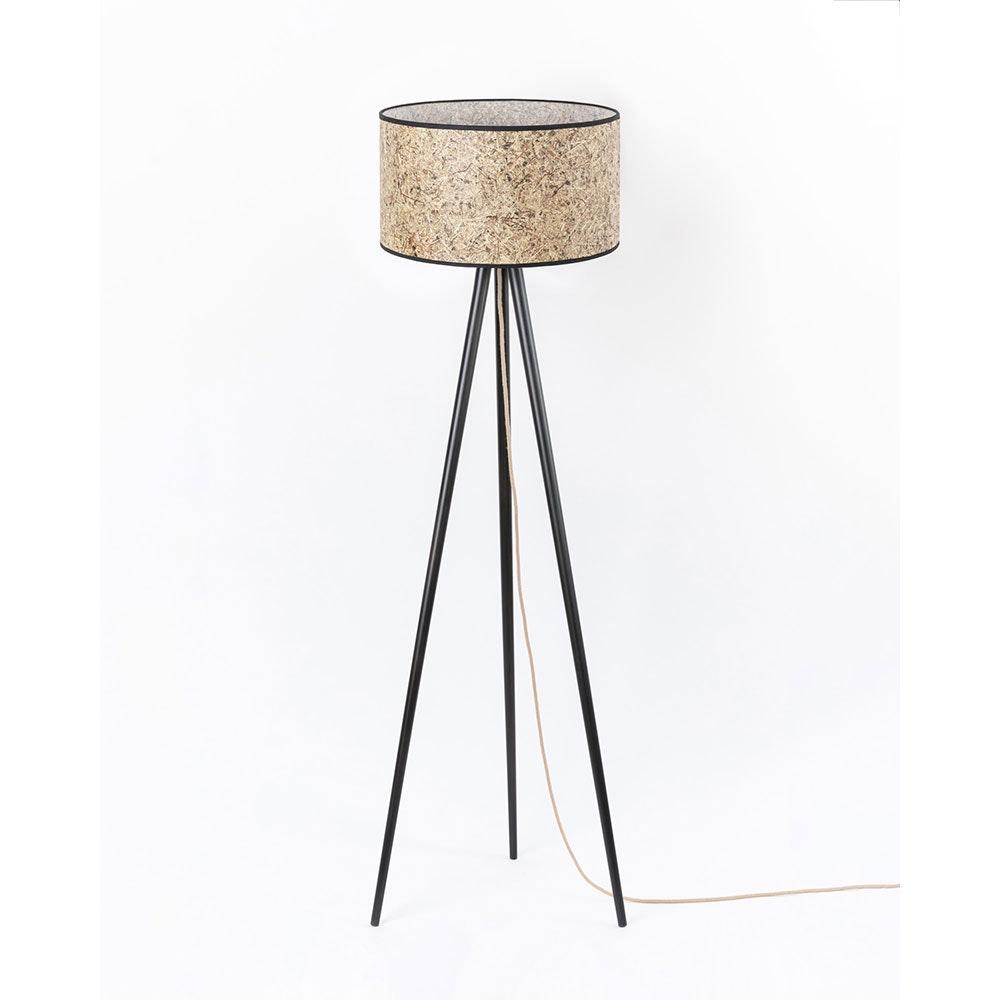 Holz Dreibein-Stehlampe mit Heuschirm 6