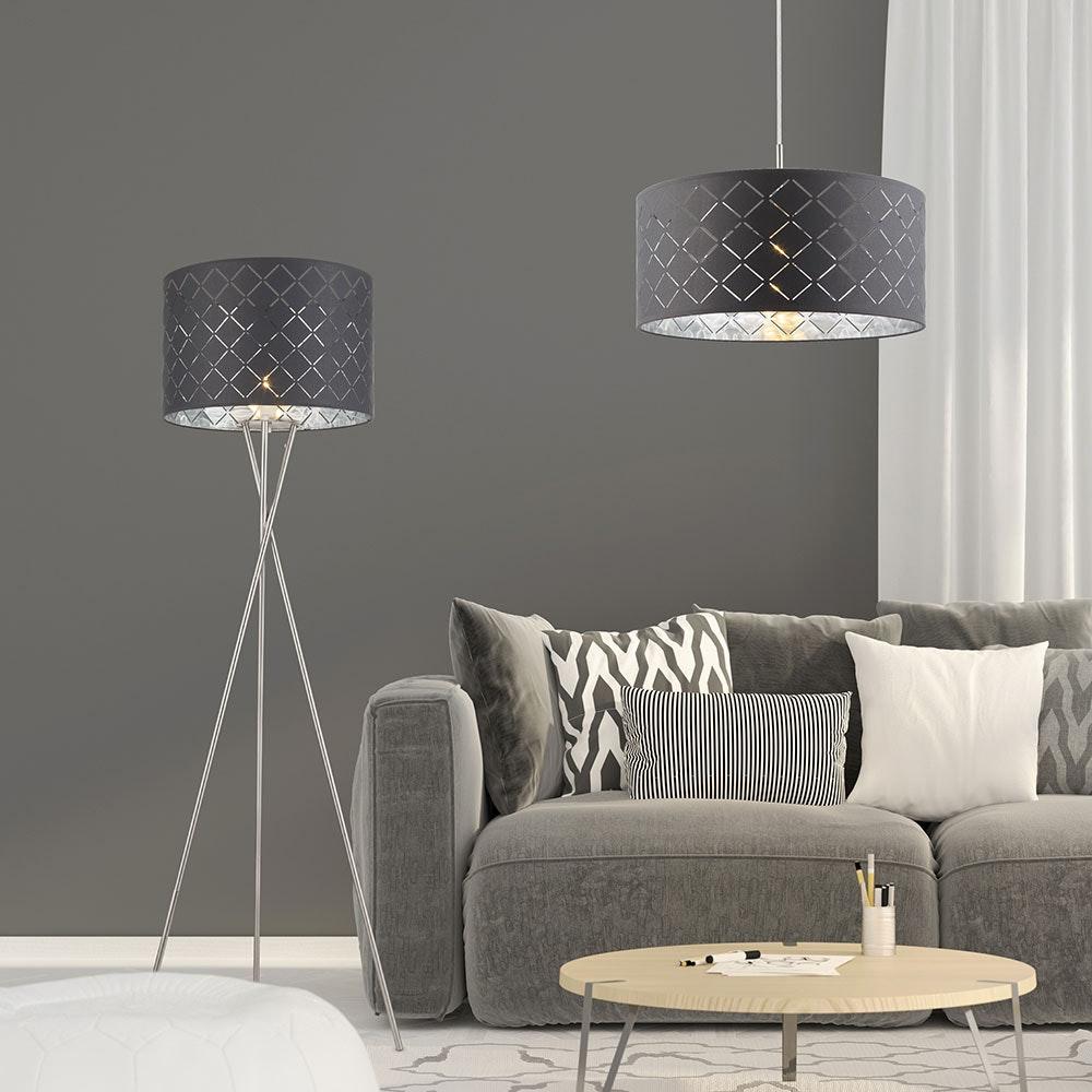 Hängeleuchte Kidal Schirm mit Dekorstanzungen Nickel-Matt, Grau, Silber-Metallic