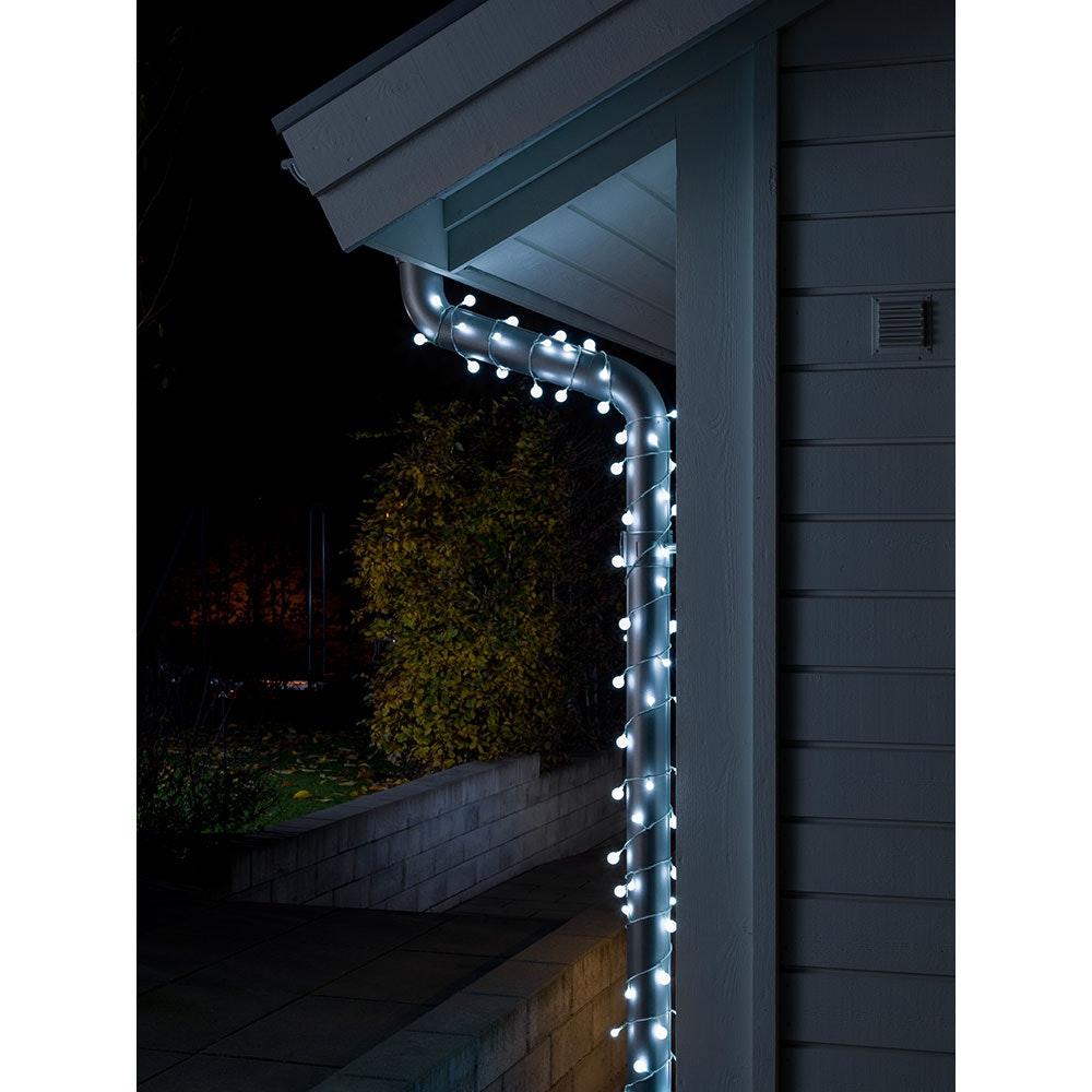 LED Globelichterkette kleine & große runde Dioden 80 Kaltweiße Dioden IP44 1