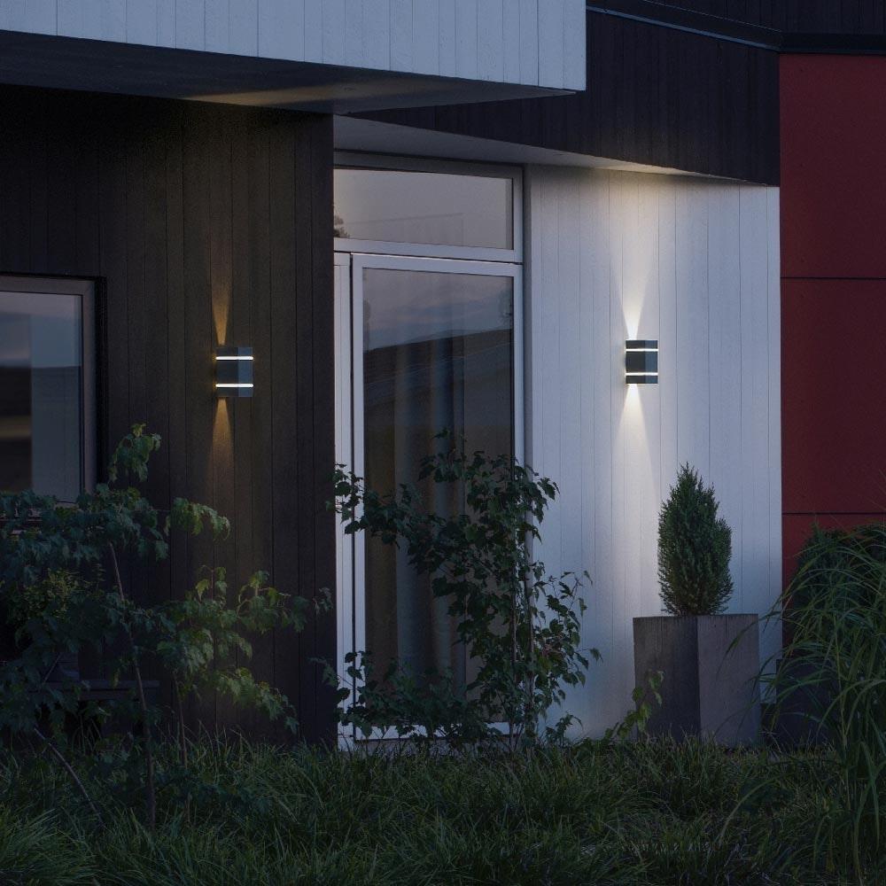 Cremona LED Aussen-Wandleuchte mit Lichtstreifen + Lichtstrahl einstellbar Anthrazit 2