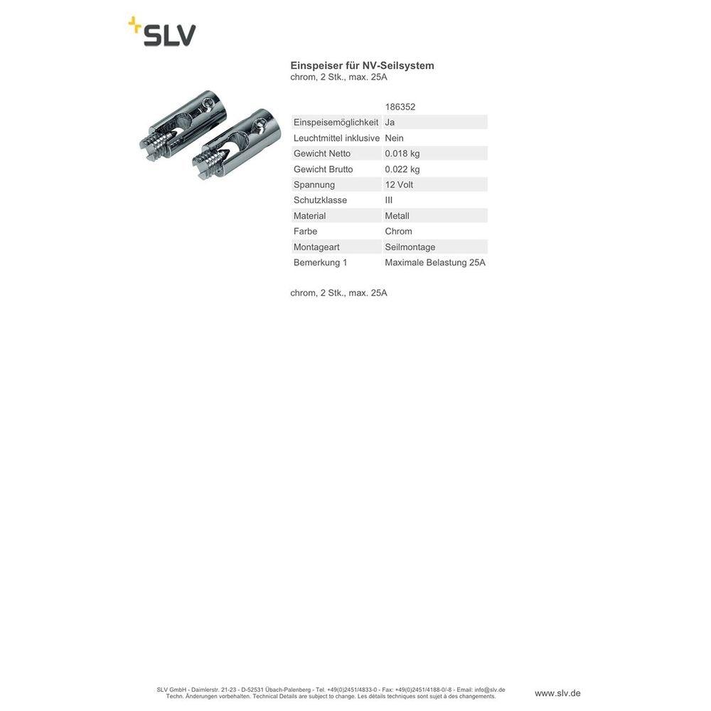 SLV Einspeiser für NV-Seilsystem chrom 2 Stk. max. 25A 2