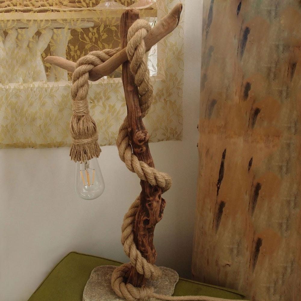 s.LUCE Rope Seil-Tischleuchte mit Fassung 200cm Braun thumbnail 5