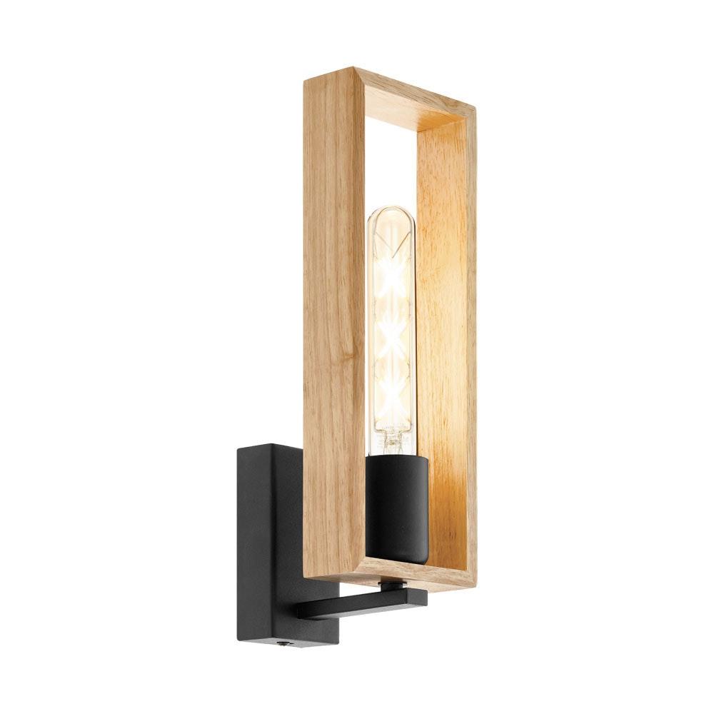Wandlampe Littleton Holz Schwarz Braun