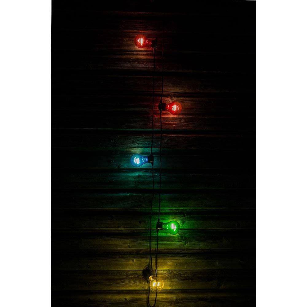 LED Biergartenkette 5er bunt mit Timer 40 Warmweiße Dioden batteriebetrieben 4