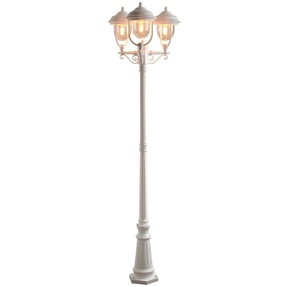 Parma Standleuchte mit 3 Leuchtenköpfen Weiß, klares Acrylglas