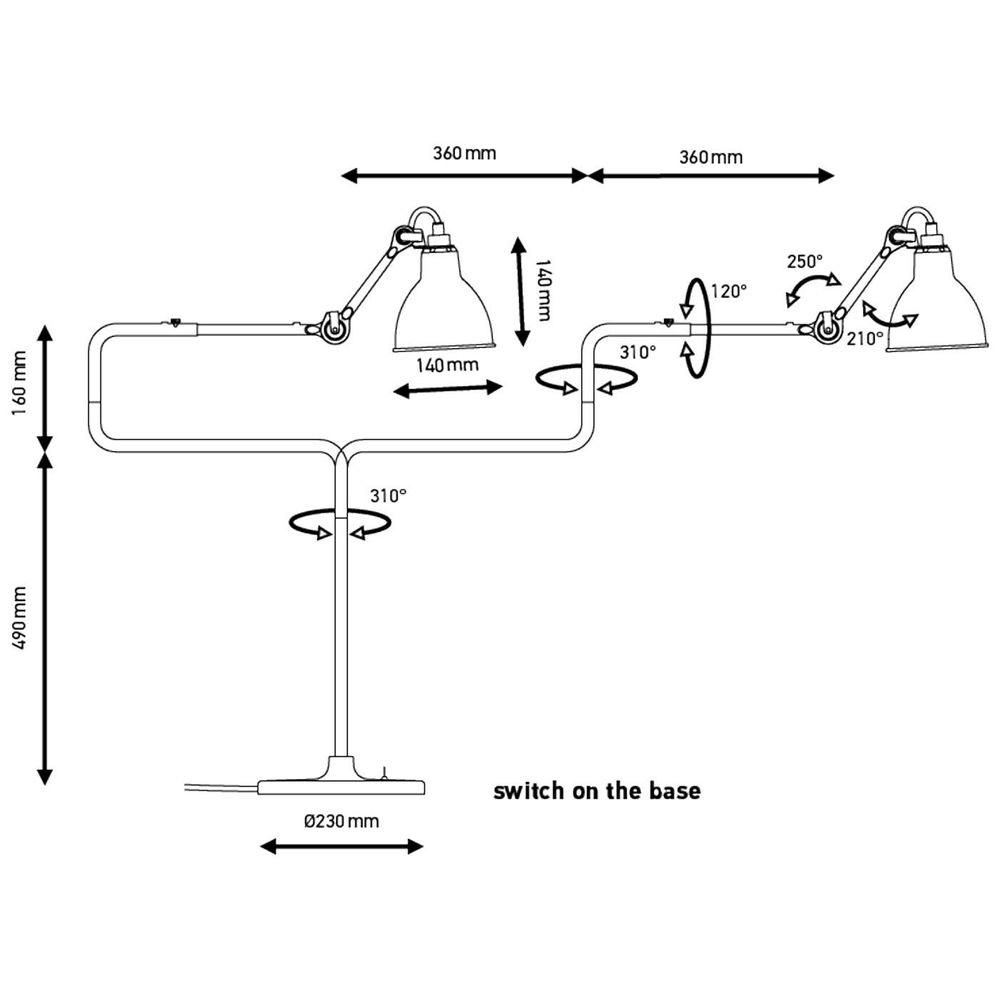 DCW Gras N°317 Tischlampe mit Schirm schwenkbar 6