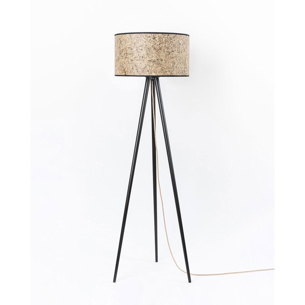 Holz Dreibein-Stehlampe mit Heuschirm 5