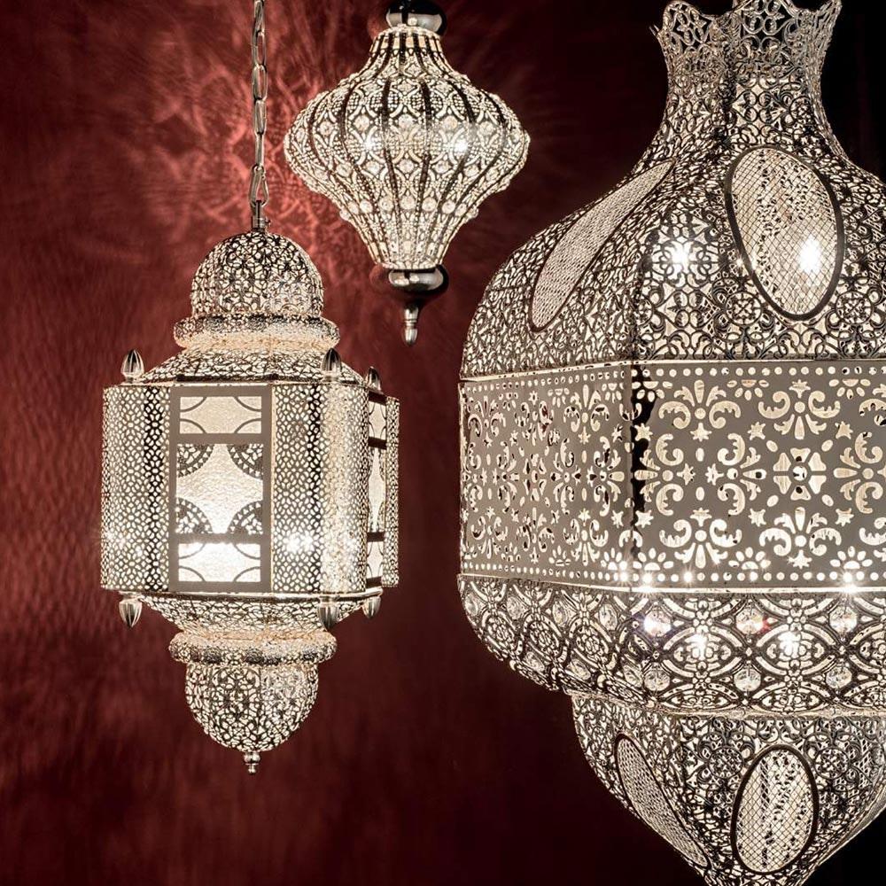 Nawa orientalische Hängeleuchte Ø 41cm Silber 1