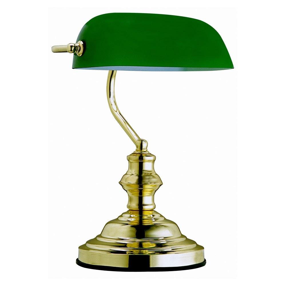 Licht-Trend Banker-Tischleuchte Toay Messing, Grün