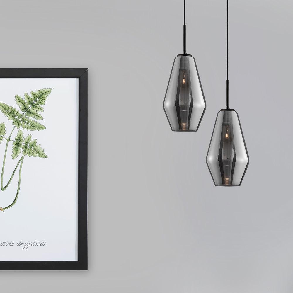 Nova Luce Veiro Hängeleuchte mundgeblasenes Rauchglas 2
