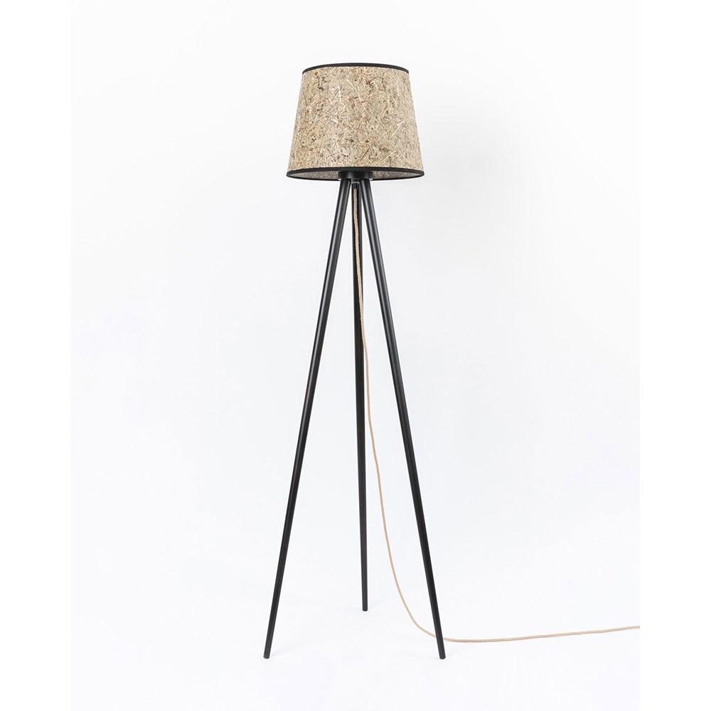 Holz Dreibein-Stehlampe mit Heuschirm 4