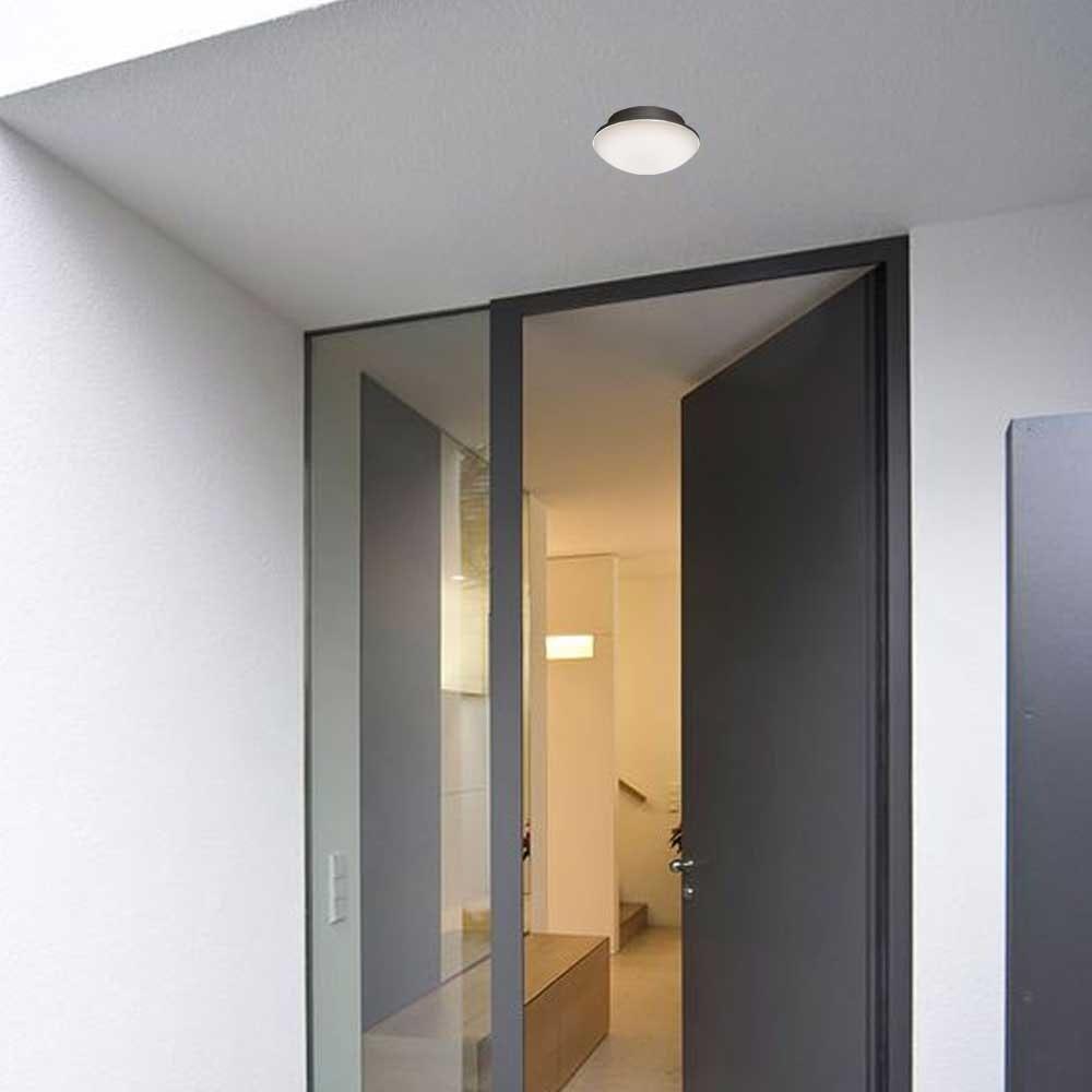 LED Außenwand- & Deckenleuchte Mini IP54 Ø 14cm Anthrazit 2