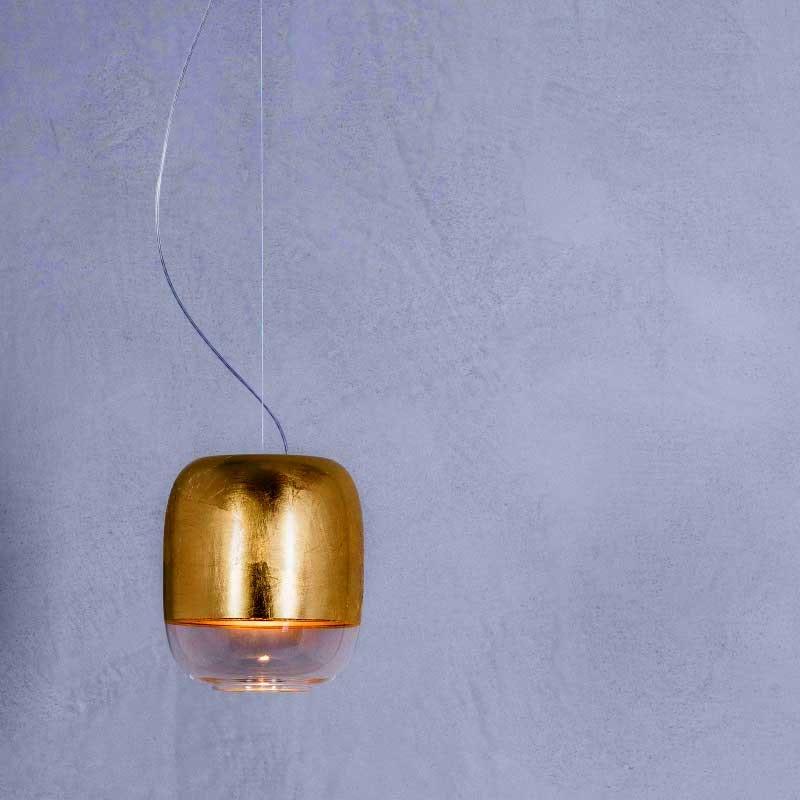 Prandina Glas Hängelampe Gong S1 Blattgold 1