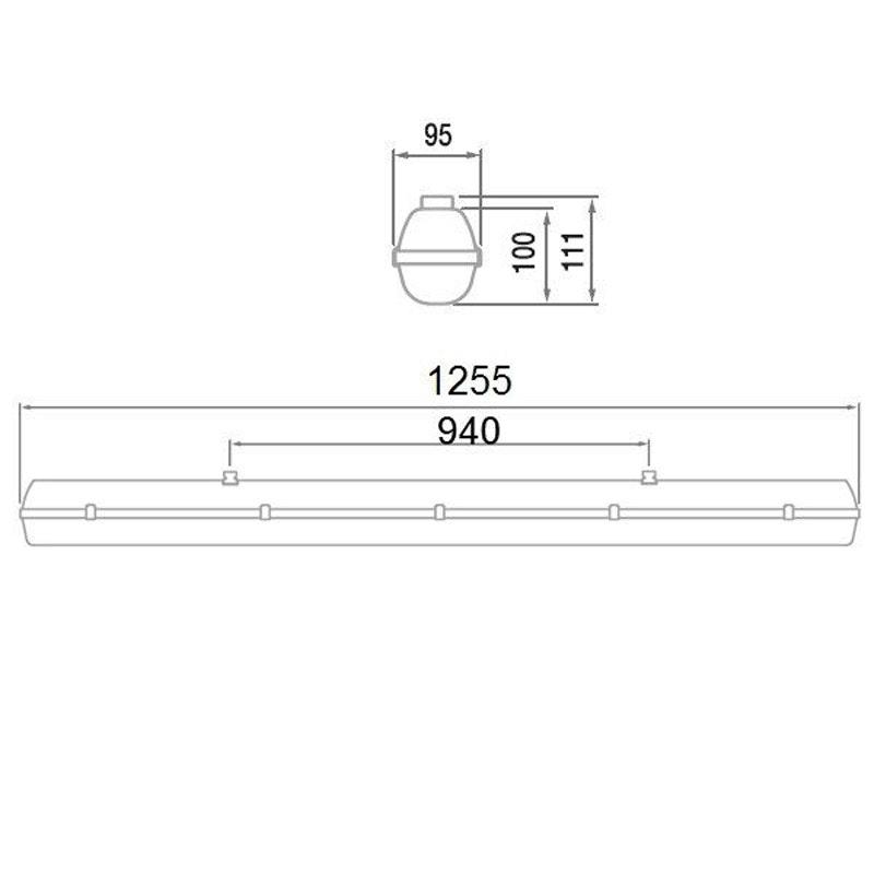LED Wannenleuchte 22W Warmweiß schlagfest & IP66 3