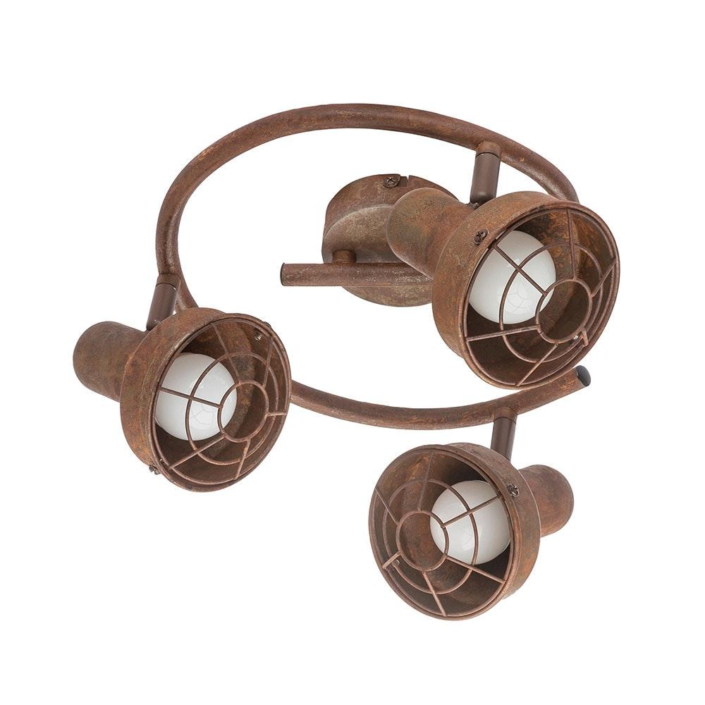 LED Strahler Tycho 3-flg. Schirm mit Gitter Rostfarben 3