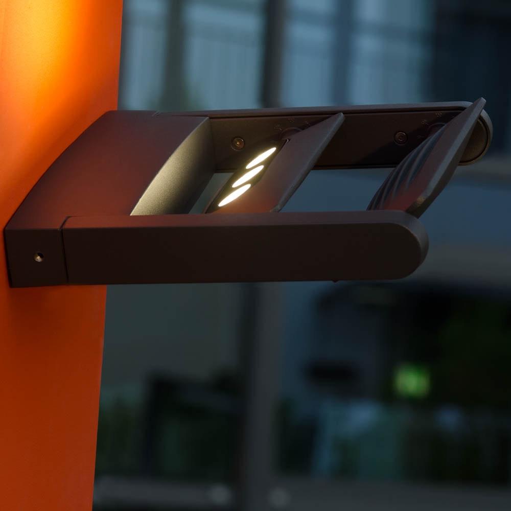 Mini LED Spot 2-flg. verstellbare Außenwandleuchte IP65 Anthrazit 2