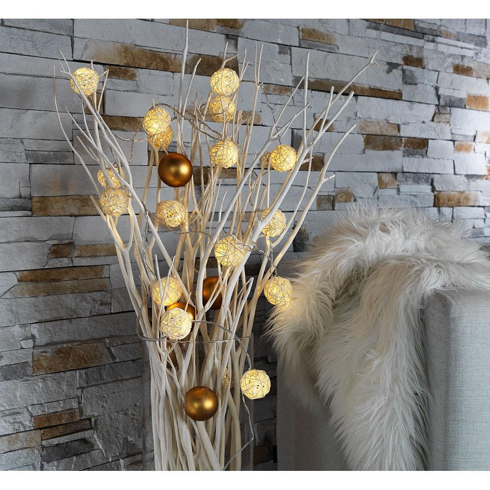 LED Dekolichterkette Kugeln aus geflochtenen Zweigen 16 Warmweiße Dioden 2