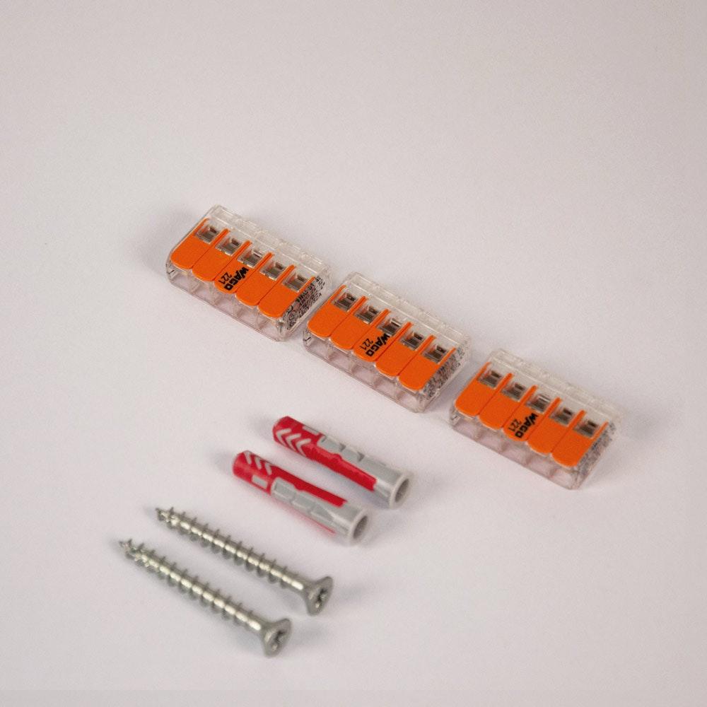 Montageset mit 3x Wago Klemme & 2x Fischer 6er Dübel + 2x PZ-Schraube thumbnail 4