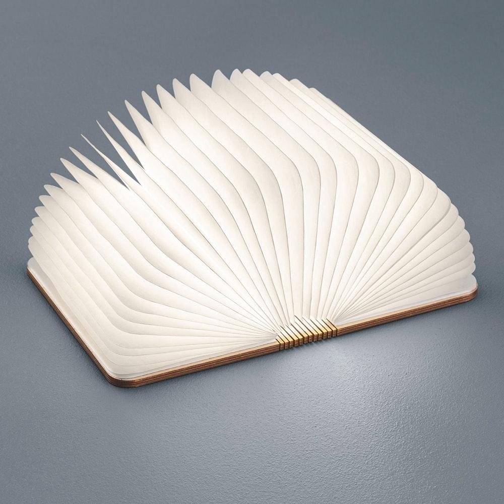 Helestra LED Tischleuchte Memo Holzstruktur Weiß