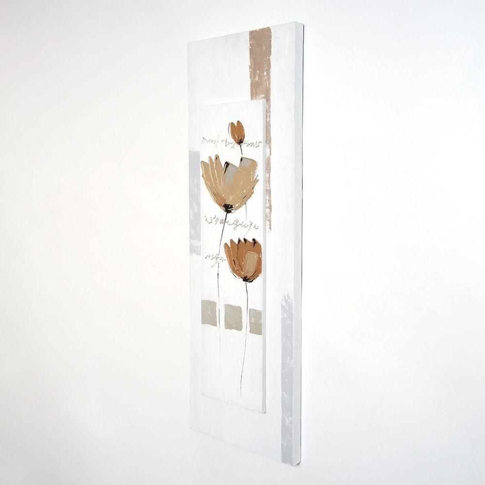 Wandbild Virtuoso Leinwand-Holzrahmen Weiß-Grau-Beige 1