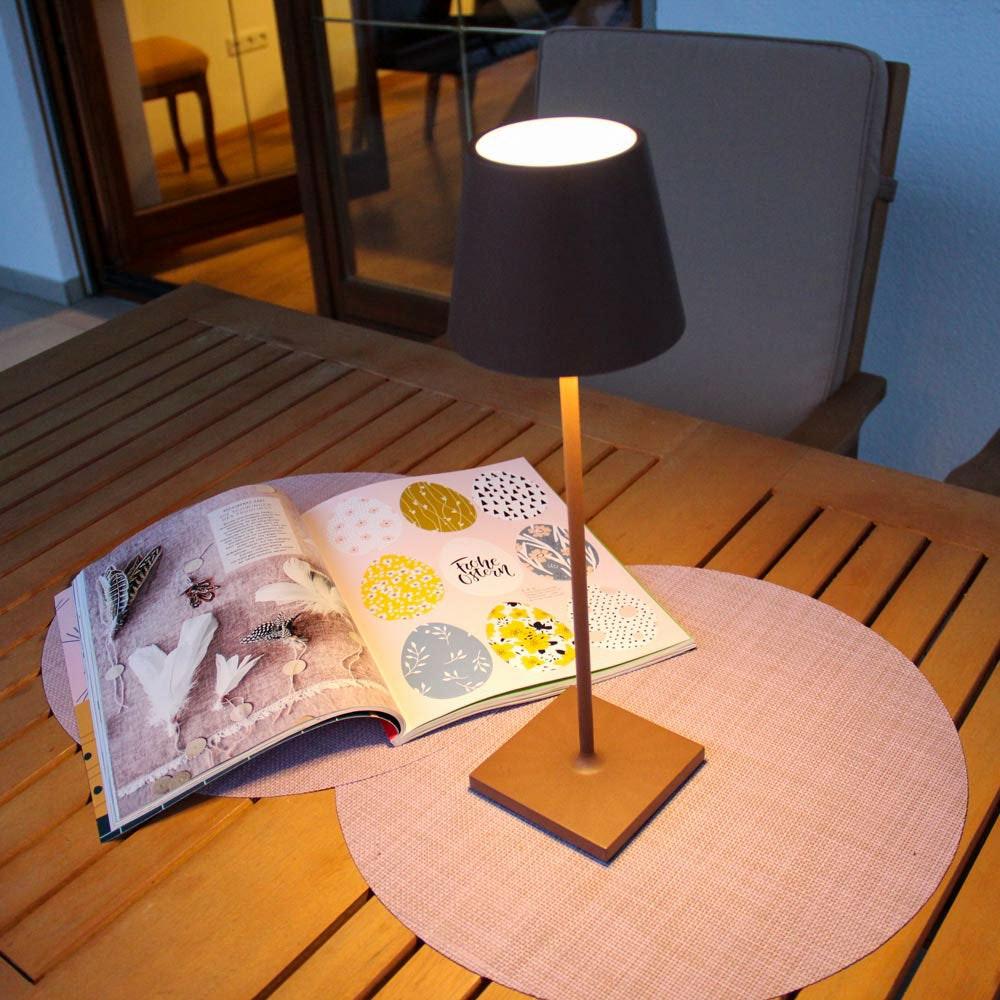 LED Tisch-Akkuleuchte Qutarg für Außen IP54 Dimmbar Braun 1