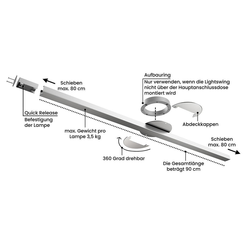 Swing 1 drehbares & verstellbares Aufhängesystem für eine Hängeleuchten thumbnail 3