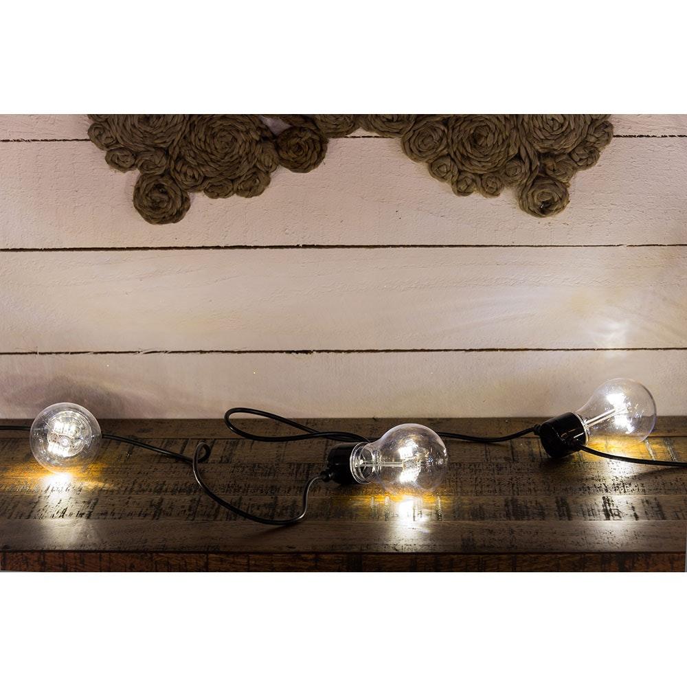 LED Biergartenkette 5er klar mit Timer 40 Warmweiße Dioden batteriebetrieben 6
