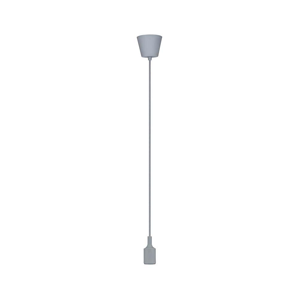 Pendel E27 2m Stoffkabel max 1x20W Grau Silikon