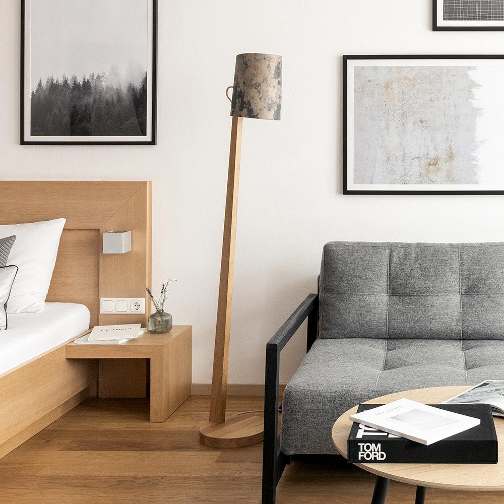 Holz Stehlampe mit Schirm Zylindrisch 167cm 3