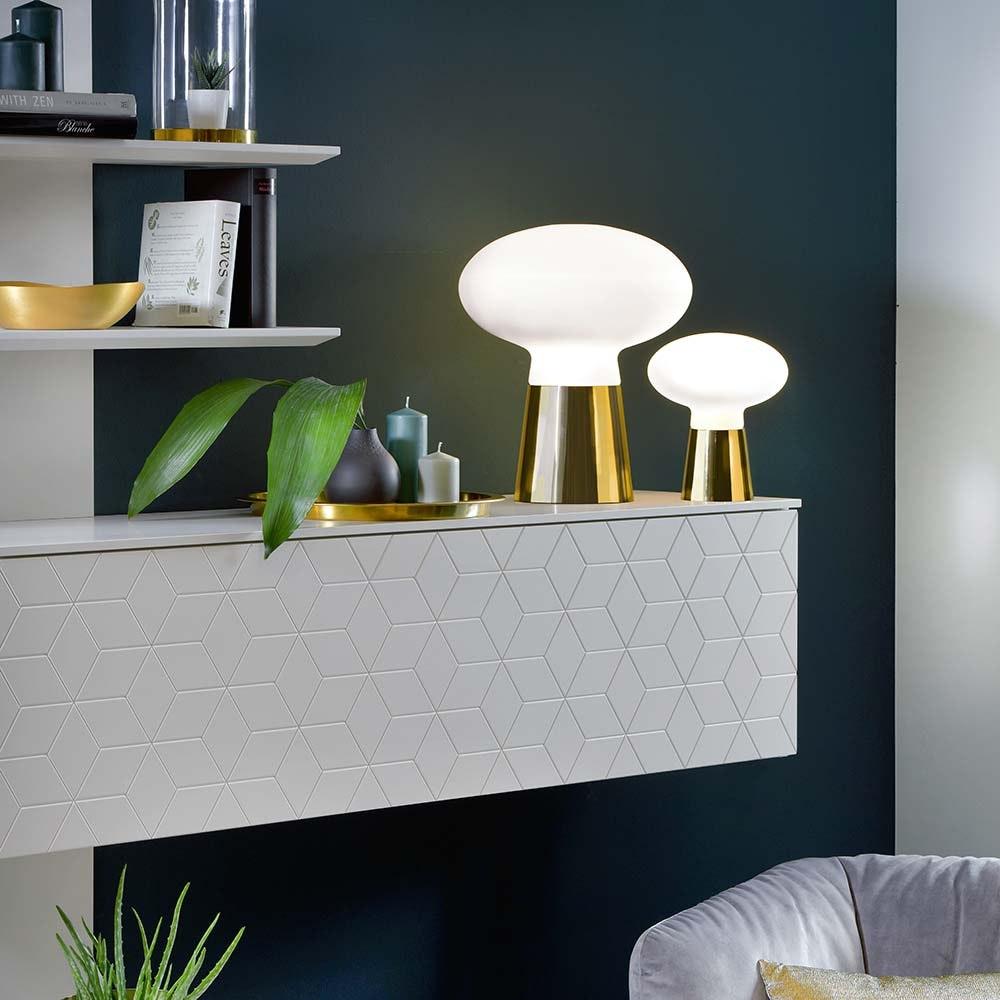 Villeroy & Boch Tischlampe Bilbao 42cm Goldfarben, Weiß