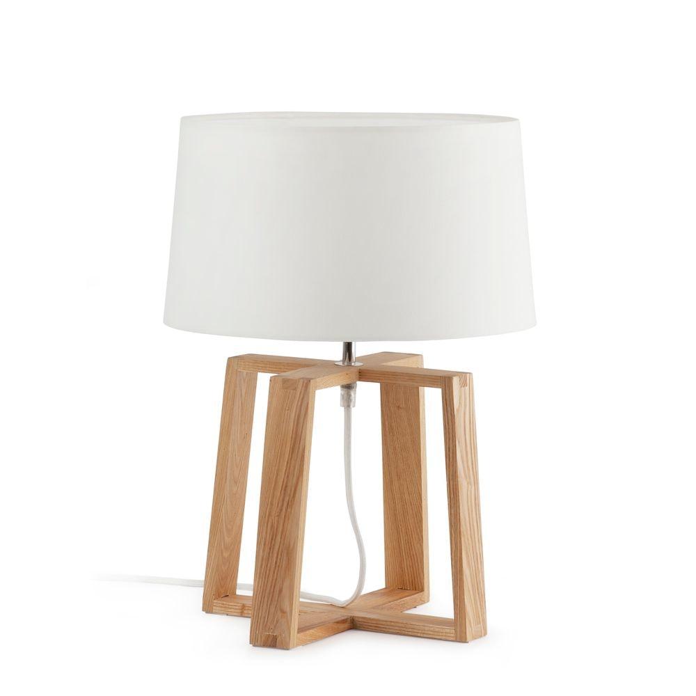 Holz Tischlampe BLISS IP20 Braun, Weiß 1