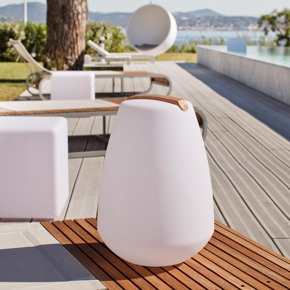 Akku LED-Dekolampe Vessel S mit Holzgriff & App-Steuerung 4