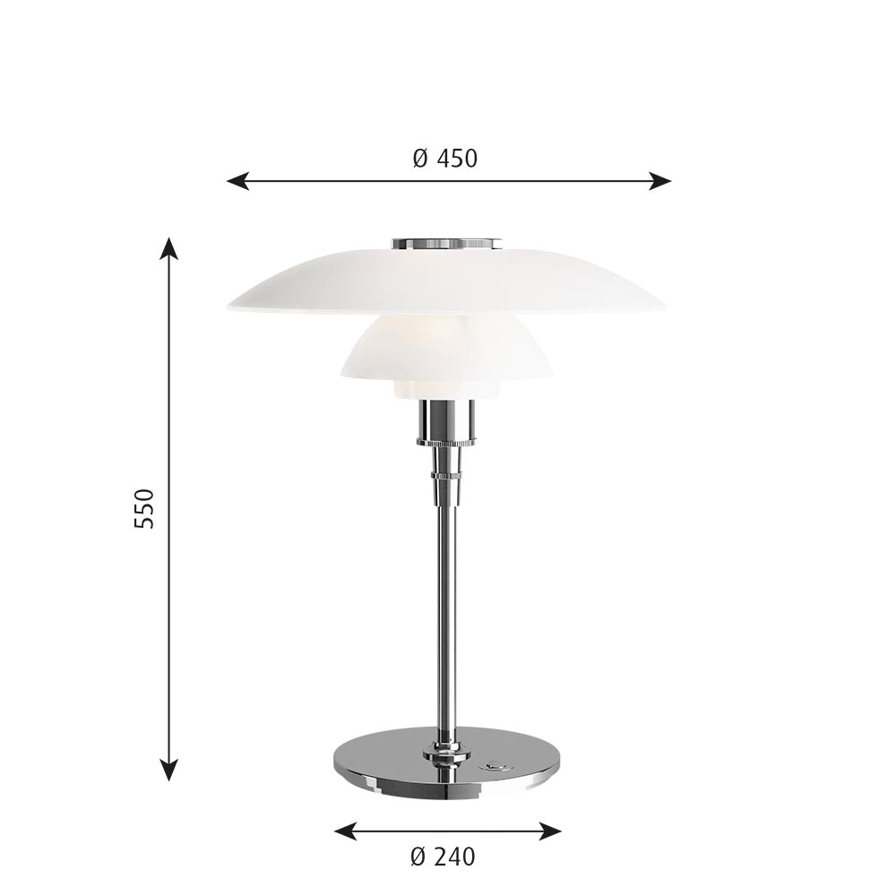 Louis Poulsen Glas Tischlampe PH 4½ - 3½ Chrom thumbnail 6