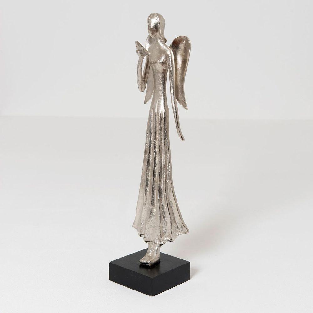 Engel Helena Aluminium-Holz Silber-Schwarz 1