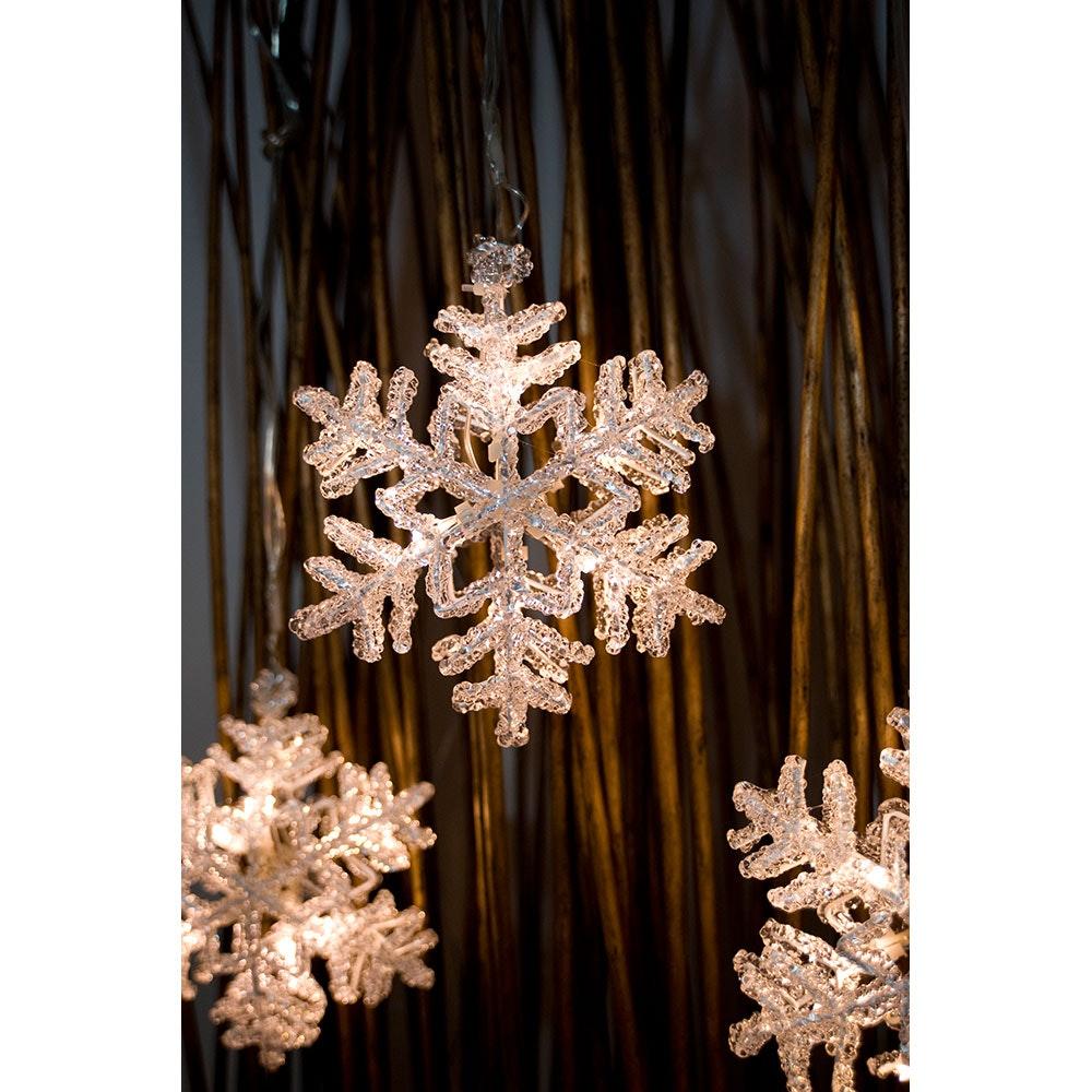 LED Acryl Schneeflocken Lichtervorhang 5er-Set 30 Warmweiße Dioden 3