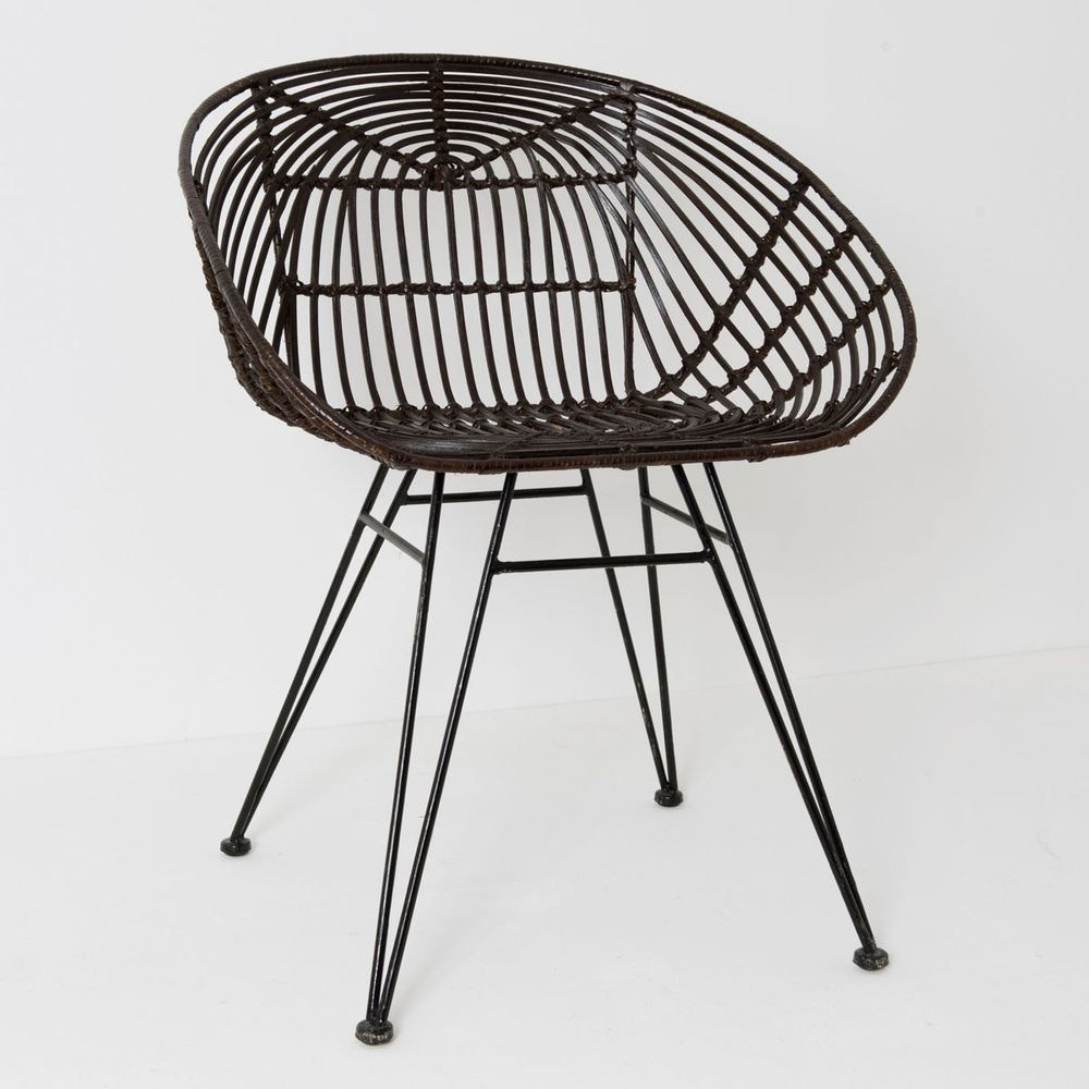 Stuhl mit Lehne Seguito Rattan-Metall Braun-Schwarz 3