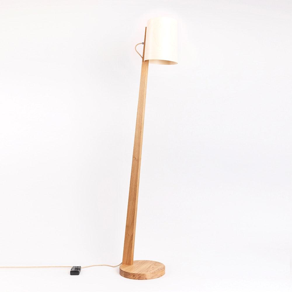 Holz Stehlampe mit Schirm Zylindrisch 167cm 18